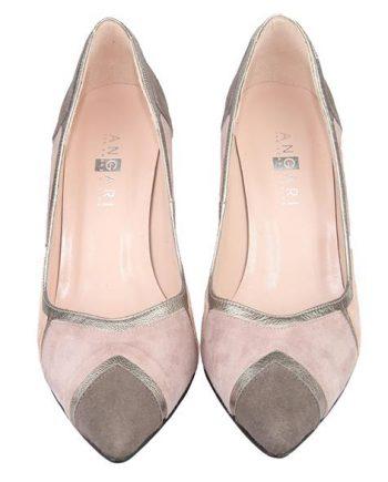 zapatos de fiesta bicolor en tonos color nude