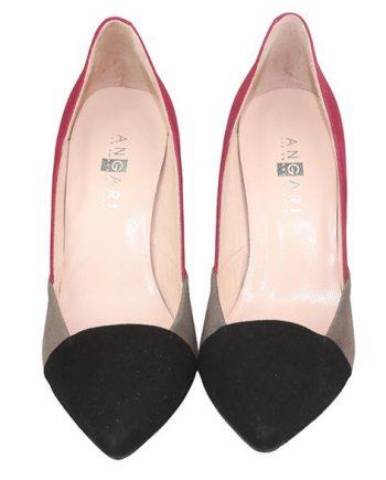 zapatos de fiesta tricolor en negro gris y burdeos