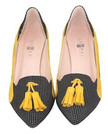 zapatos de vestir borlas amarillas