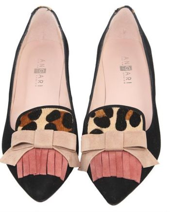 zapatos de tacón medio negros y animal print