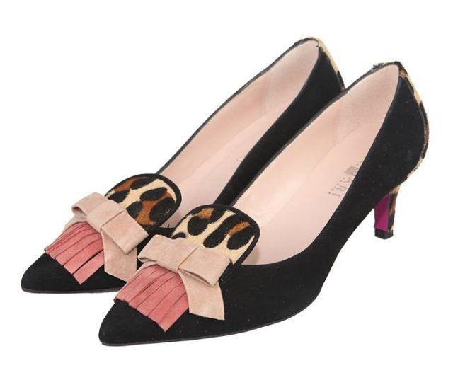 99b5f96c92b zapatos de tacón medio con lazo y flecos en pala efecto animal print