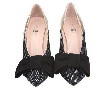 zapatos para mujer lunares negros con lazo
