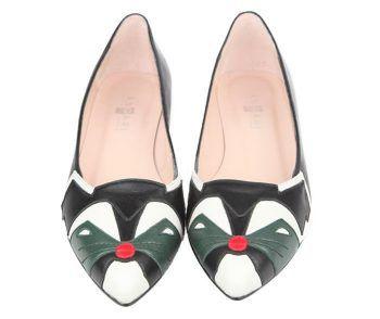 zapatos planos de fantasía en piel negra