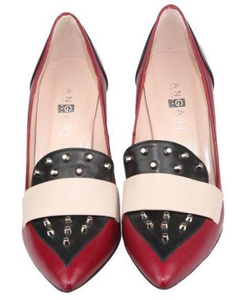 zapatos de mujer tachuelas burdeos